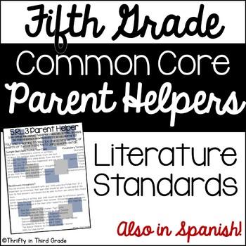 5th Grade Common Core Reading Literature Parent Helper -also in Spanish