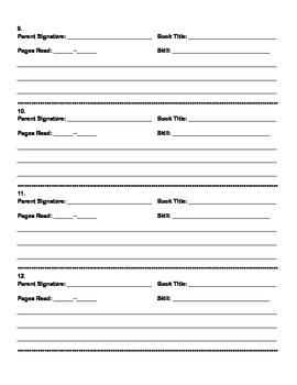 5th Grade Common Core Reading Log