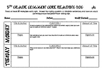 5th Grade Common Core Reading Logs