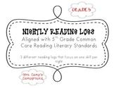 5th Grade Common Core Reading Logs