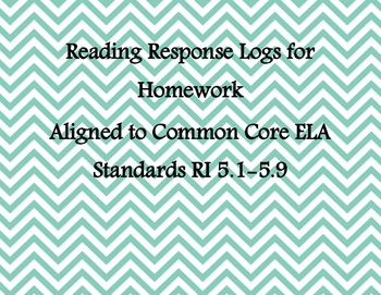 5th Grade Common Core Reading Logs for all ELA Informational Text Standards