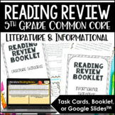5th Grade Reading Test Prep Review | Task Cards OR Booklet