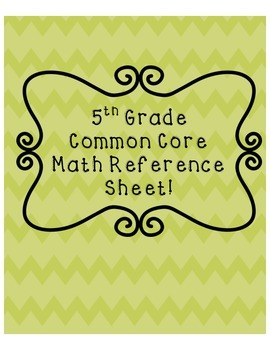 5th Grade Common Core Reference Sheet