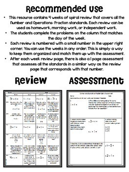5th Grade Math Spiral Review (Fractions) *Editable*