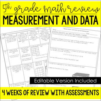 5th Grade Common Core Spiral Review (Measurement and Data) *Editable*