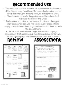 5th Grade Math Spiral Review (Measurement and Data) *Editable*