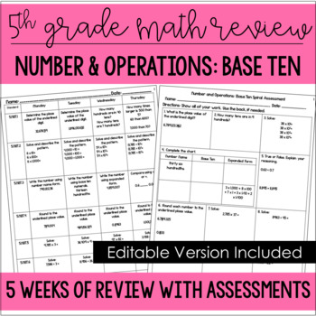 5th Grade Math Spiral Review (Number and Operations: Base Ten) *Editable*