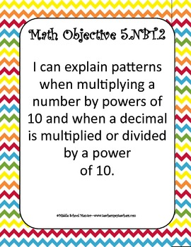 5th Grade Rdg & Math Common Core Checklists, Examples & I Can Statements Chevron