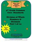 5th Grade Common Core Standards Division Test