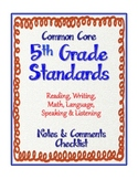 "5th Grade Common Core Standards - ELA and Math ""Notes & Co"