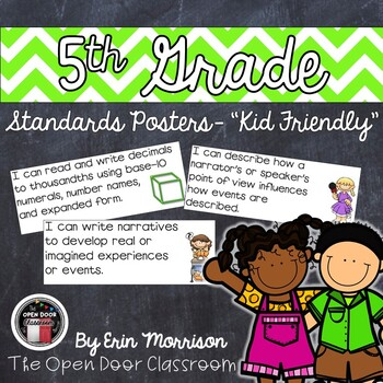 """5th Grade Common Core Standards Posters- """"Kid Friendly"""""""