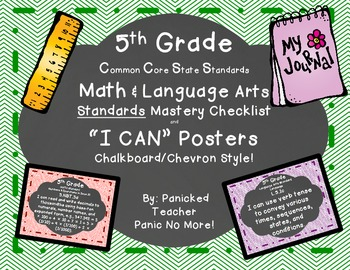5th Grade Common Core Standards Posters and Checklists (Chalkboard Style!)