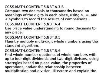 5th Grade Common Core Standards for Math