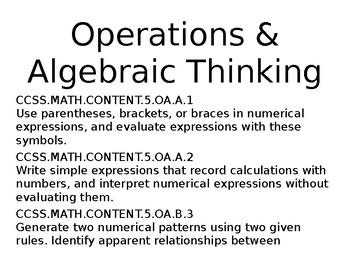 5th Grade Common Core Standards for Math