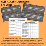 "5th Grade Common Core State Standards CCSS ""I Can"" Statements & Checklist"