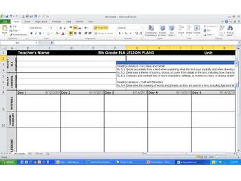 5th Grade Common Core Weekly Lesson Plan Template -  ELA & Math (Landscape)