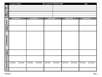 5th Grade Common Core Weekly Lesson Plan Template -  ELA &