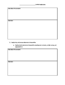 5th Grade Common Core Study Guide