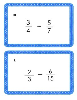 5th Grade Common Core Subtracting Fractions Wih Unlike Denominators Task Cards
