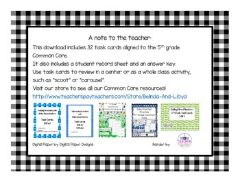 5th Grade Common Core Subtracting Mixed Numbers Task Cards