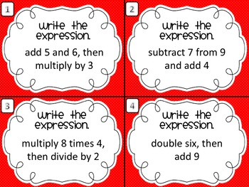 5th Grade Common Core Task Cards Algebraic Expressions