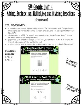 5th Grade Unit 4 Math Test Pack {Paper/Pencil and Paperless}