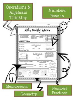 5th Grade Math Common Core Weekly Review Printables