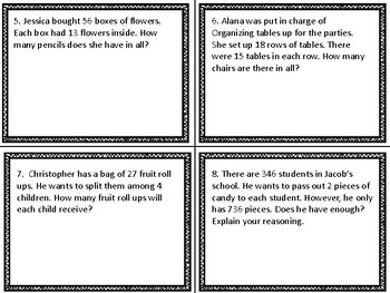 5th Grade Common Core Word Problem Task Cards
