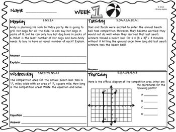 Word Problems 5th Grade, June