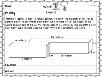 Word Problems 5th Grade, March