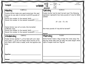 Word Problems 5th Grade, November