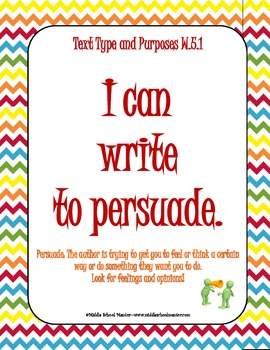 5th Grade WRITING COMMON CORE Checklists, I Can Statements