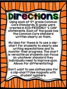 5th Grade Common Core Writing Goals Clip-Chart (Bright Colors)
