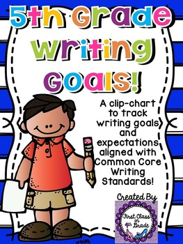 5th Grade Common Core Writing Goals Clip-Chart (Chevron)