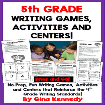 5th Grade Writing Games and Centers! Perfect for Writing Camps!