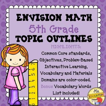 EnVision Math Common Core - 5th Grade Topics 1-16 Outlines