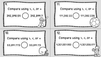 5th Grade Compare Decimals Task Cards