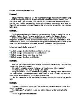 5th Grade Compare and Contrast Between Texts Question Set