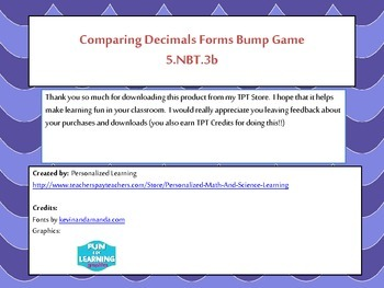 5th Grade Comparing Decimals Bump Math Game {5.NBT.3B} Common Core Aligned