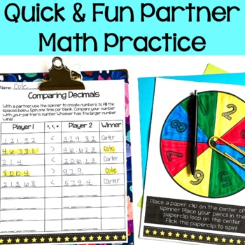5th Grade Comparing Decimals to the Thousandths {Math Partner Game}