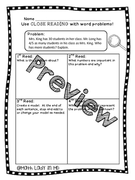 5th Grade Fraction Multiplication Word Problems - Close Reading!