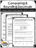 5th Grade Comparing and Rounding Decimals Practice and Quiz Packet Set