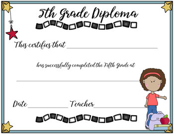 5th Grade Completion Diplomas Graduation End of Year Printable