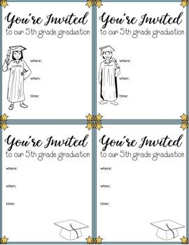 5th Grade Completion Graduation Invitations Printable FREE