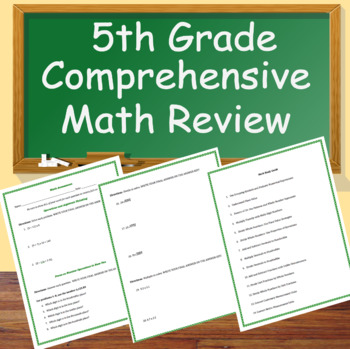 5th Grade Math Test, Worksheet, Review, Study Guide