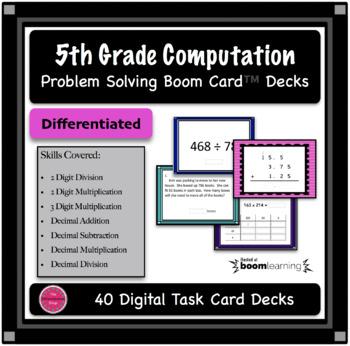 5th Grade Computation Boom Card 40 Deck Bundle