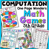 5th Grade Computation Math Games: One Page Wonders 5th Grade Math Activities