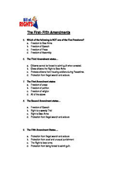 5th Grade Constitution and Bill of Rights Test