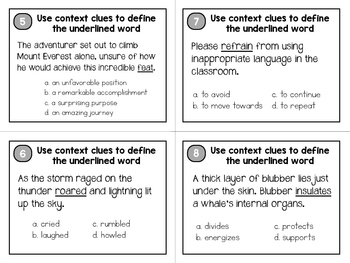 5th Grade Context Clues Task Cards