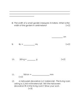 5th Grade Convert Metric Measurements Chapter Test